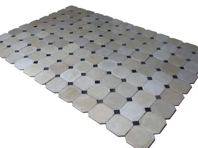 Carrelages ciment anciens carreaux color s motifs for Carrelage cabochon noir et blanc