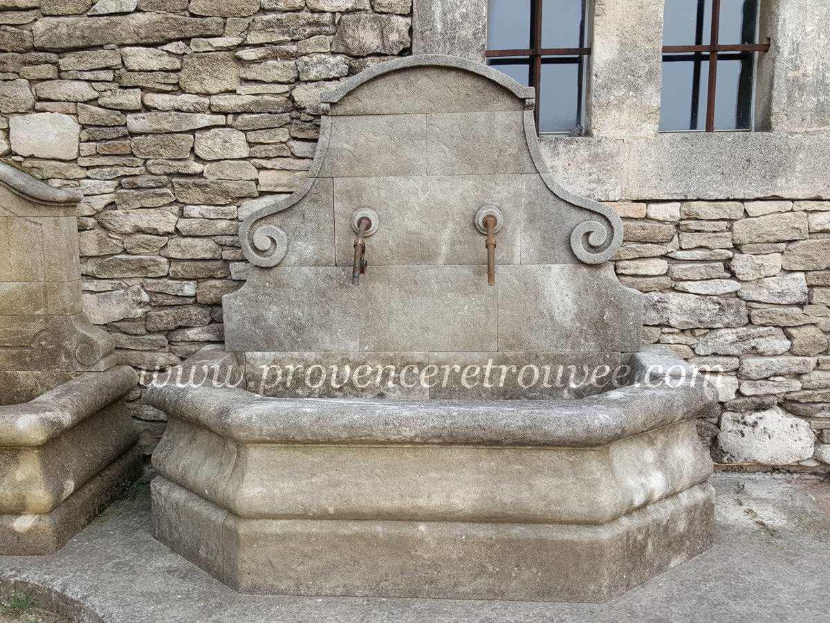 fontaine en pierre de taille avec 2 sorties d 39 eau fon11 170 ds. Black Bedroom Furniture Sets. Home Design Ideas