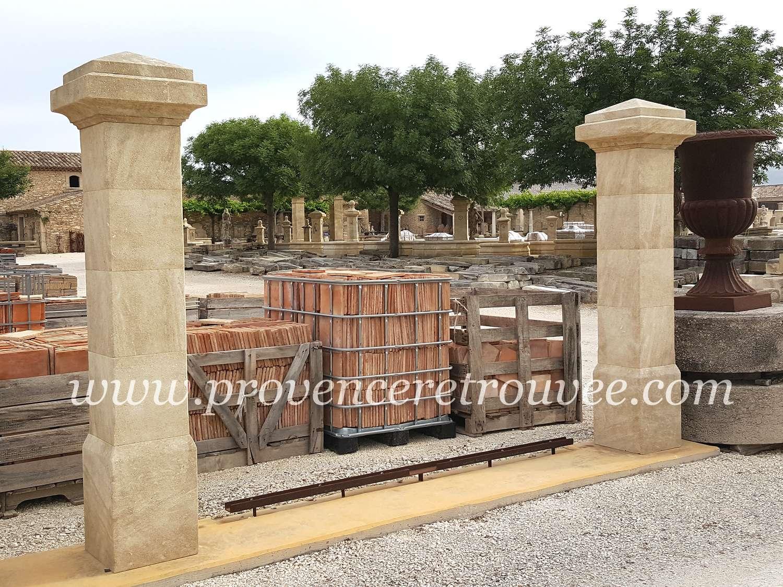 Piliers de portail en pierre pil35 197 pc - Pilier de portail en pierre ancien ...