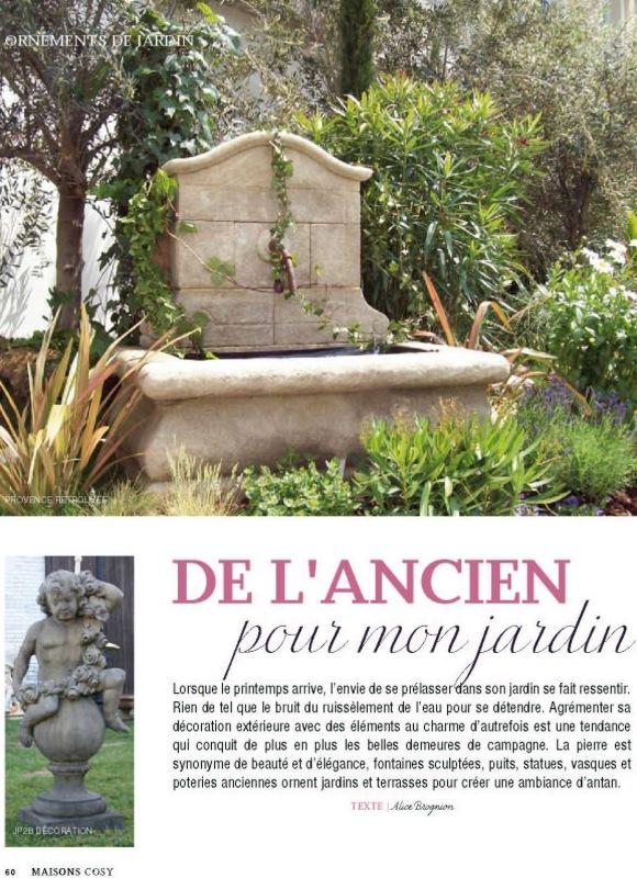 Parutions et r f rences dans la presse papier for Fontaine de jardin en pierre ancienne