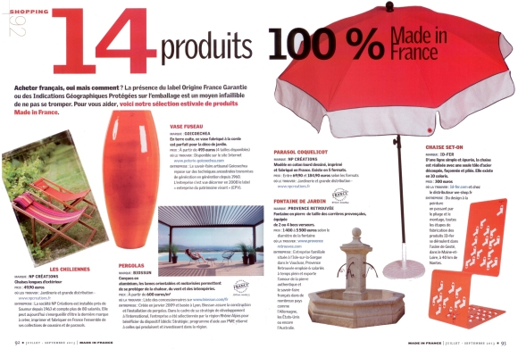 Fontaine centrale dans Made in France Magazine Juillet Aout 2013
